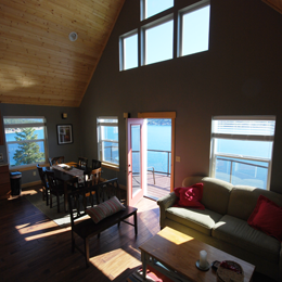 photo of living and dining areas overlooking Lake Chelan